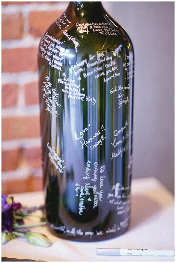 sign wine bottle alternative wedding guest book ideas
