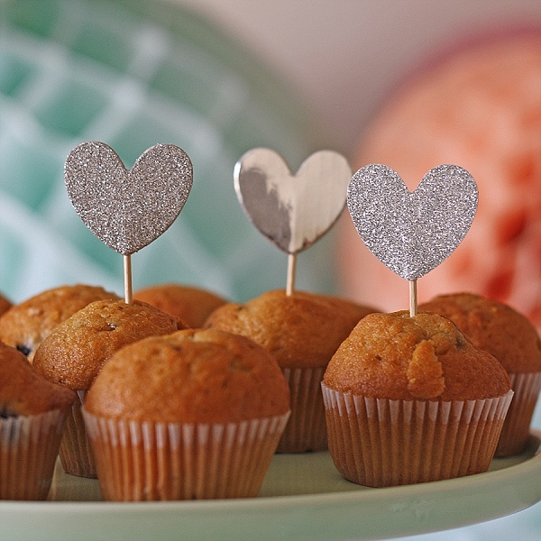 silver glitter cupcake flags hearts wedding dessert table