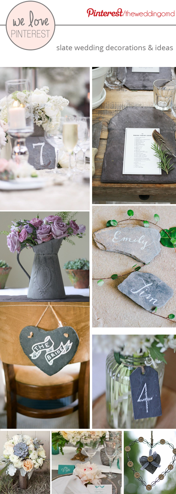 slate wedding decorations place cards table numbers signs