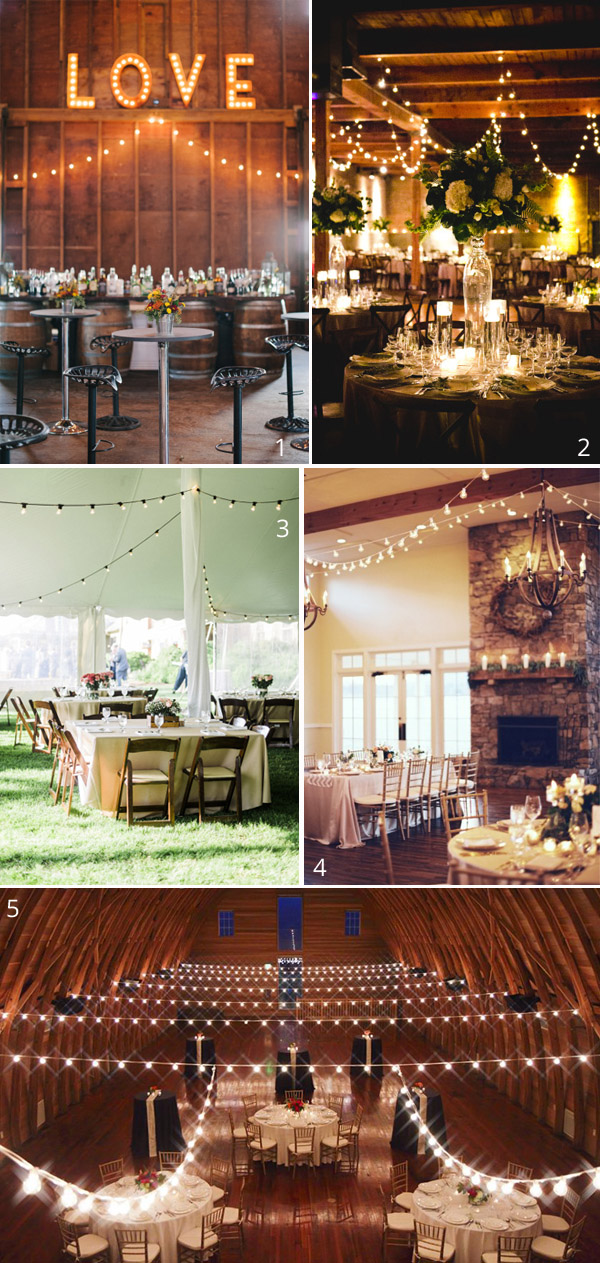 globe string  lights wedding in barns hangin from beams
