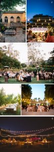 string globe lights wedding outdoors outside over tables