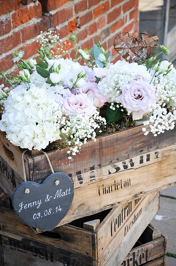 wooden crates for weddings with flowers
