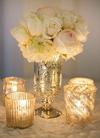 Christmas wedding mercury silver vase centrepiece with silver candle holders - glitter and glamour (5)