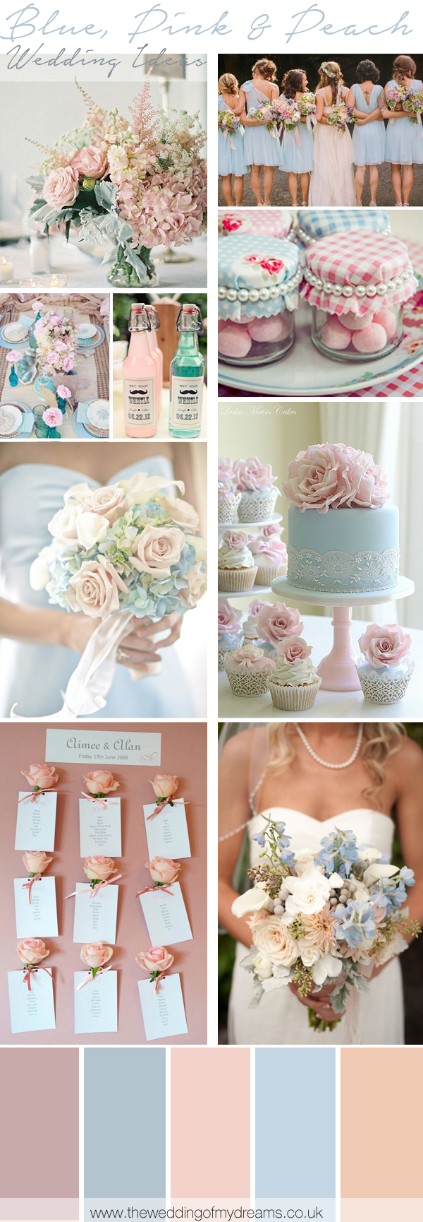 blue pink and peach wedding inspiration decorations