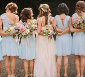 blue pink and peach wedding inspiration