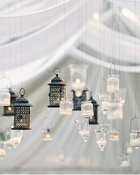 tea light holders hanging wedding