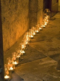 tea light holders jam jars wedding path way