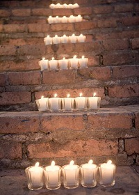 tea light holders wedding on steps
