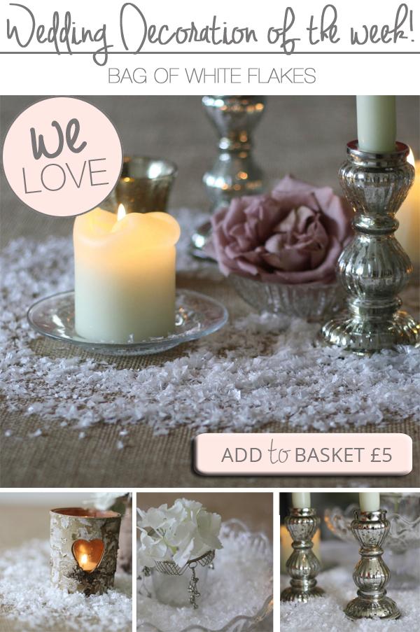 white snow flakes winter wedding decorations