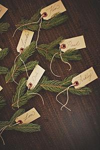 winter weddings fir tree spruce place setting