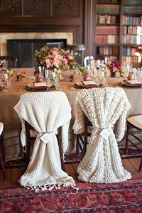 winter weddings warm blanket for bride and grooms chairs