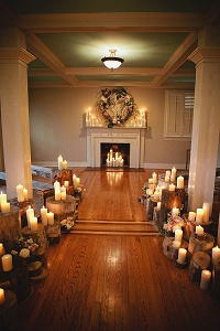 winter weddings candles and tree slices