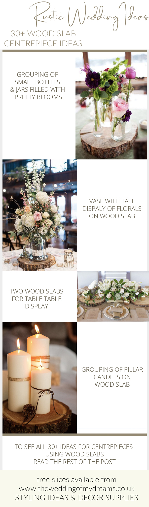 30 ideas for rustic wedding centrepieces tree slabs tree slices