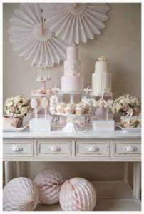 blush pink wedding dessert table