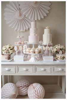 blush pink wedding dessert table