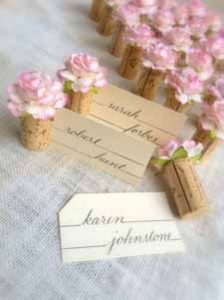 blush pink wedding ideas corks for wedding place settings with pink flowers