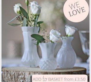 frosted white bud vases