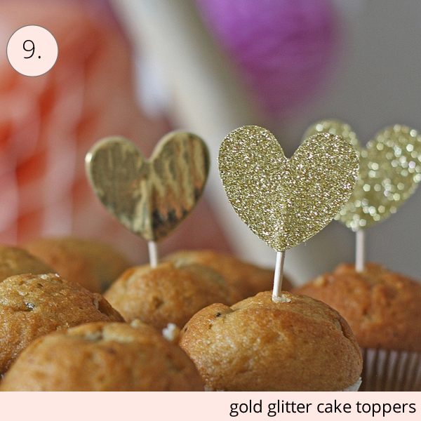 gold glitter cake toppers
