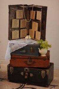 vintage suitcase wedding table plan
