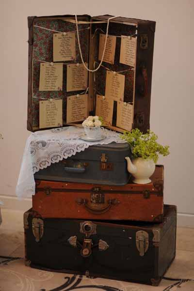 vintage suitcase wedding table plan