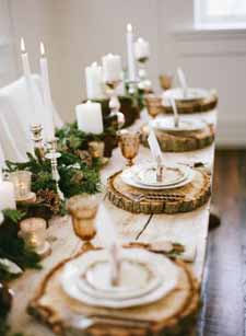 woodland wedding centrepiece ideas central garland withtree slices for place mats