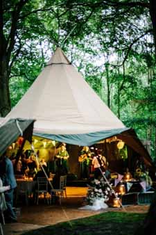 woodland wedding centrepiece ideas with a tepee for your reception