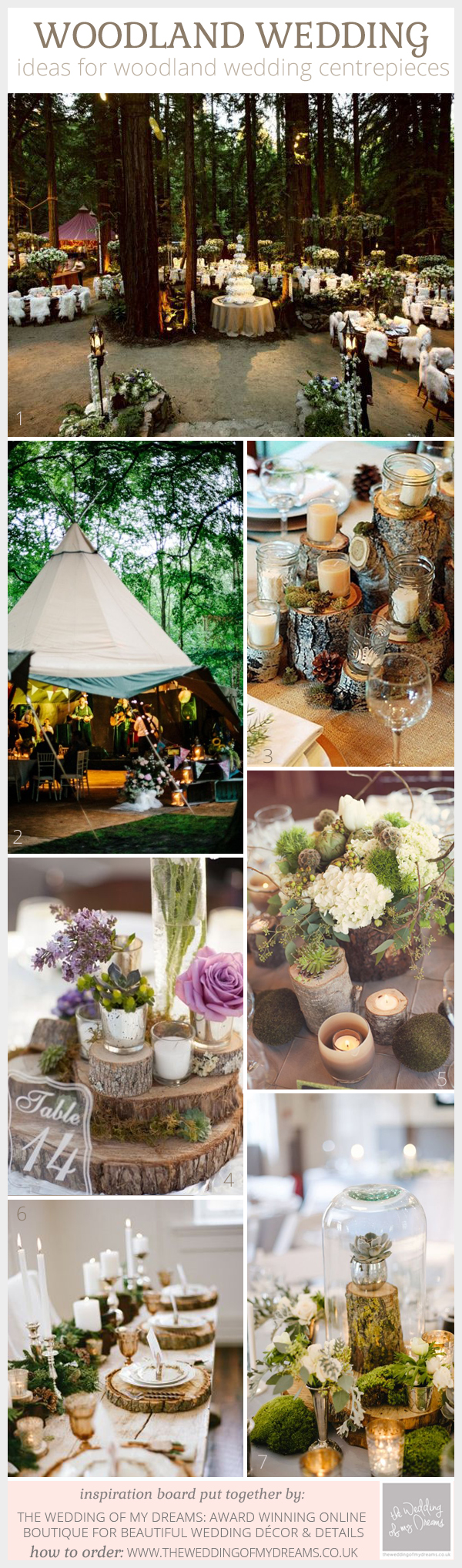 woodland wedding centrepiece ideas