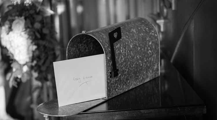 American style wedding mail box at Warwick House