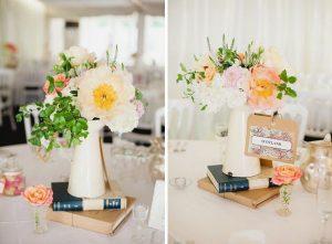 Cream jug wedding centrepieces