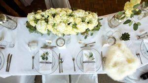 Elegant wedding place settings grey and white