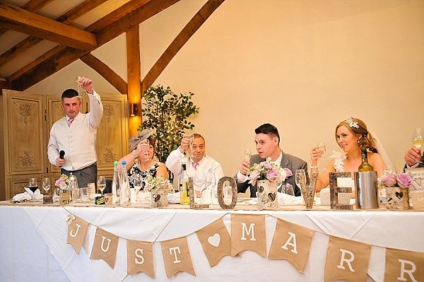 Hessian just married bunting along top table