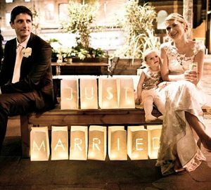 just married paper lanterns signs