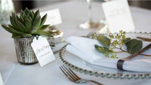 Mercury Silver Tea Light Holders Used To Hold Succulent Wedding Favours