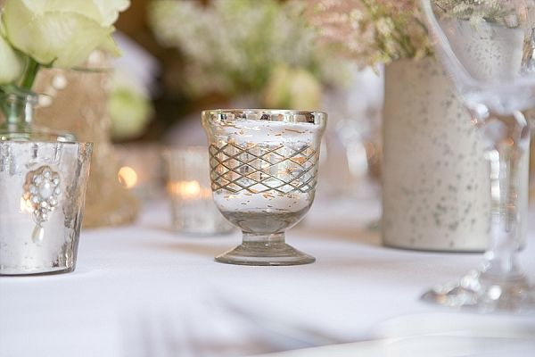 Mercury silver footed tea light holders