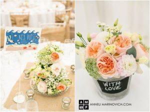 Pressed glass cake stand wedding centrepiece and blackboard bucket vase