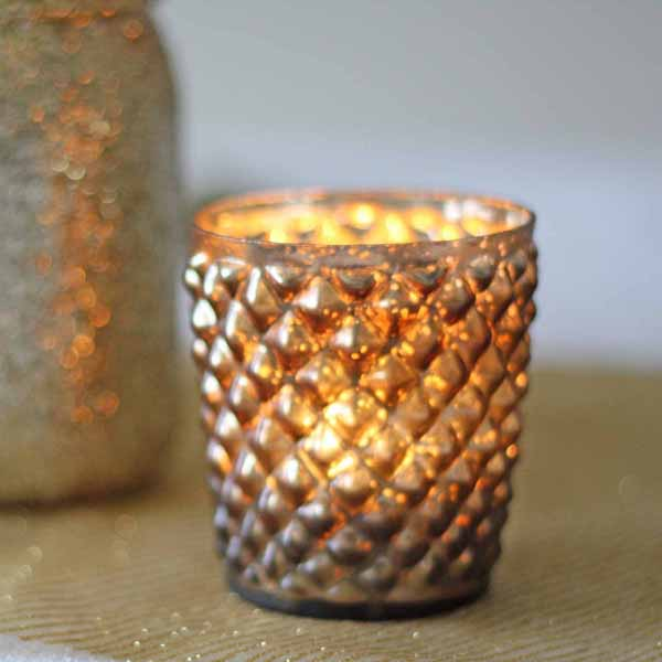 Quilted glass bronze tea light holders