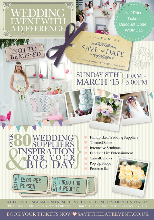 Save the date wedding event with a difference