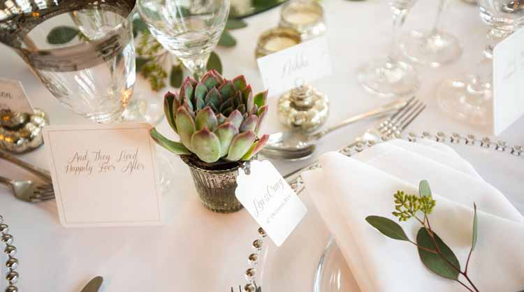 Succulents as Wedding Favours in Mercury Silver Pots
