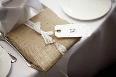 Use burlap hessian fabric as wrapping paper for gifts