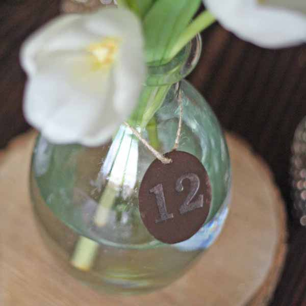 bronze discs for wedding table numbers