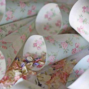 cones for petal confetti with pretty floral pattern
