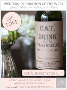 Eat, Drink & Be Married Stickers For Wine Bottles - personalised with the wedding date and names of couple