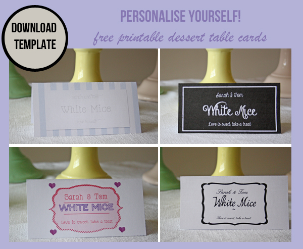 wedding dessert table labels template free download
