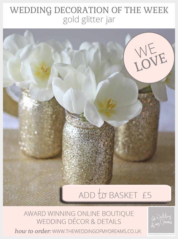 gold glitter mason jar vase wedding centrepiece