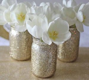 gold glitter jar vases for wedding centrepieces