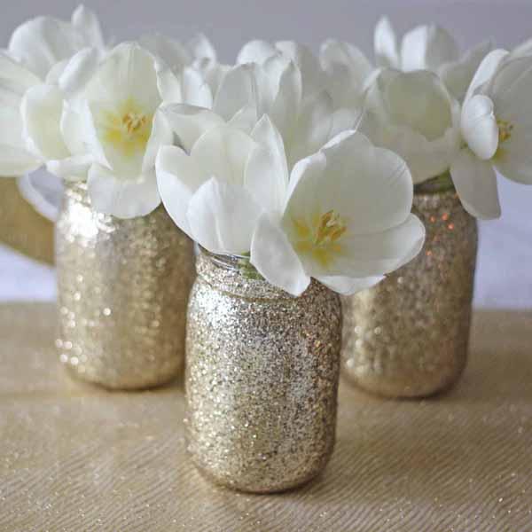 gold glitter jar vases for wedding centrepieces