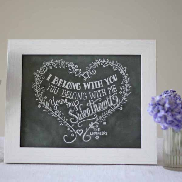 i belong with you you belong with me print chalkboard calligraphy