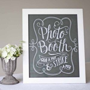 photo booth wedding sign chalkboard calligraphy