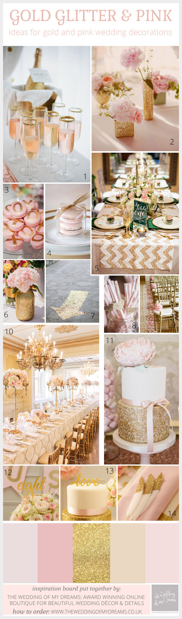 pink and gold glitter wedding inspiration and decorations