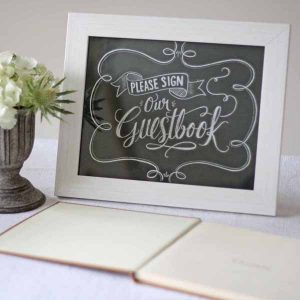 please sign our wedding guest book sign chalkboard calligraphy